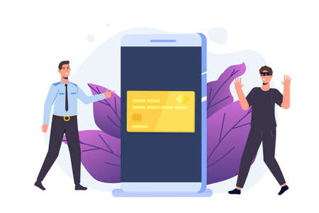 Cyber police, theft and fraud committed, cardholder attack concept. Policeman arresting a hacker. Stop financial crime. Vector flat style illustration.