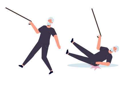 Falling Elderly People concept. Vector illustration in cartoon style Illustration