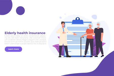 Elderly health insurance concept. Vector illustration in flat style.