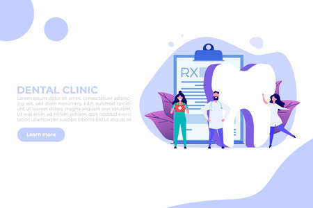 Dentist doctor. Stomatology, Oral Surgery, Dentist appointment concept. Medic protect teeth.  Landing page template.  Vector illustration