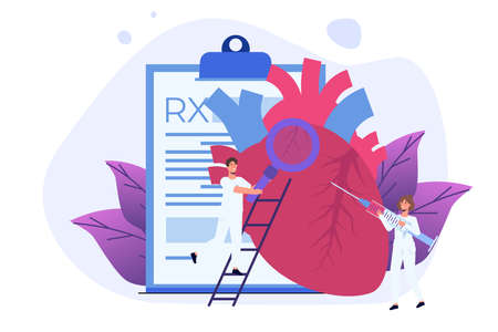 Cardio or cardiovascular heart diagnostics, Cardiology concept vector illustration. Tiny doctors treat, inspection check human Heart.