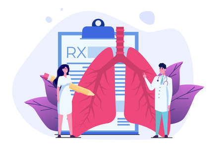 Pulmonology or pulmonary concept vector illustration. Tiny doctors treat, inspection check human Lungs.