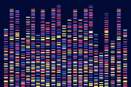 Genomic data visualization. DNA test. Vector illustration Ilustración de vector