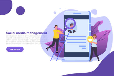 Content SMM manager strategy processes concept. Flat vector illustration. Vetores
