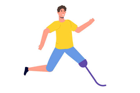 Man with prosthetic legs running. Disabled people with disabilities and prosthesis. Character witth a Bionic foot.  Vector flat style illustration.