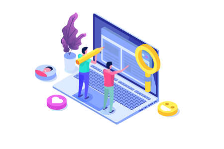 Content SMM manager strategy processes concept. Flat vector isometric illustration.