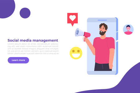 Content SMM manager strategy processes concept. Flat vector illustration.