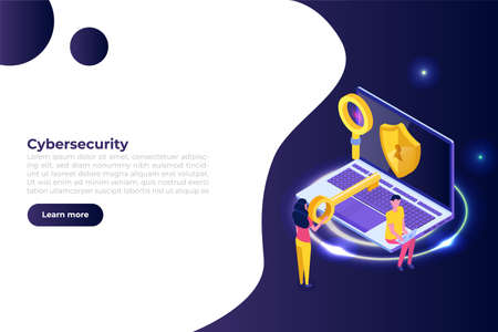 Cybersecurity, Protection network safe data isometric concept. Web page design templates. Vector illustration Vector Illustration