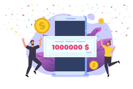 Character holding money prize, bank check for a million dollars. Winning lottery ticket. Vector illustration in flat design. Иллюстрация