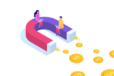 Investment attraction magnet, Business growth concept isometric. Vector illustration. 矢量图像