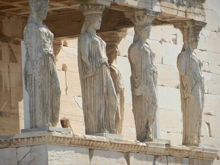 caryatids: The Caryatids, The Erechtheum, Acropolis, Athens, Greece Stock Photo