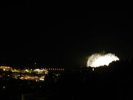 inauguration: Fireworks for Tiara ship Costa inauguration, Genoa, Italy Stock Photo