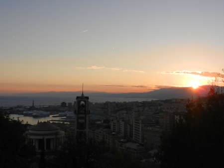 liguria: Sunset over Genoa, Liguria, Italy
