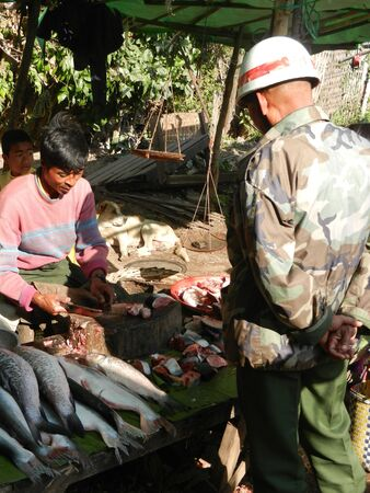 soldier fish: Market in Kalaw, Shan State, Myanmar