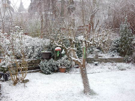 Garden in Waldbrunn with snow, Bavaria, Franconia, Germany Stock Photo