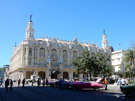 classic cars: Gran Teatro de La Habana and classic cars, Cuba