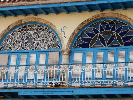 vieja: Glass windows in the Plaza Vieja, Havana, Cuba