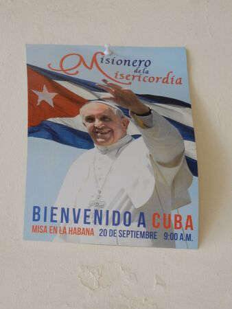 francis: Flyier with the pope Francis, Havana, Cuba,