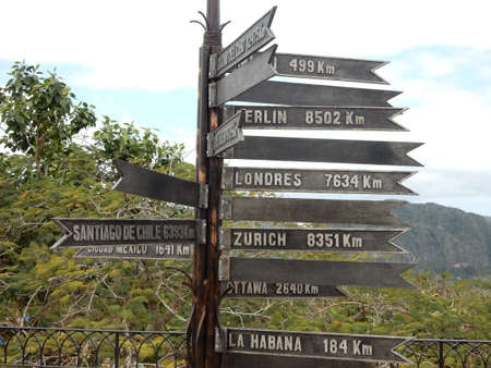 distances: Road sign with the distances from Vinales, Cuba Stock Photo