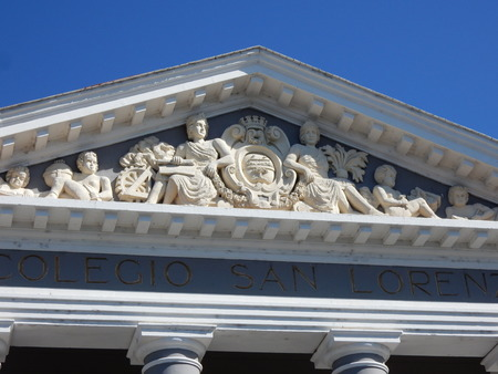 lorenzo: Pediment, Colegio San Lorenzo, Cienfuegos, Cuba Stock Photo