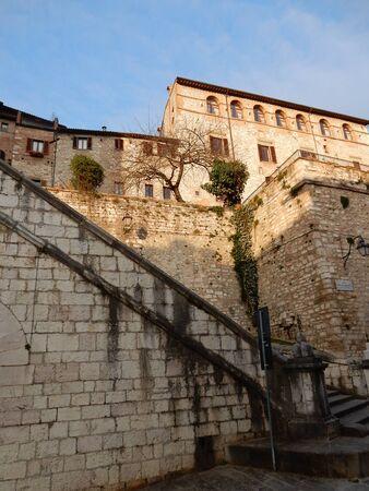 umbria: Gubbio historical town at sunset, Umbria, Italy