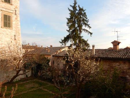umbria: Nature in Gubbio in Spring at sunset, Umbria, Italy