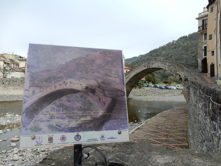 monet: Dolceacqua, painted by Monet bridge over the Nervia creek, Imperia Province, Liguria, Italy