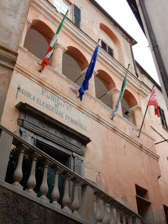 old town hall: old town hall and primary school in Cervo, Imperia Province, Liguria, Italy