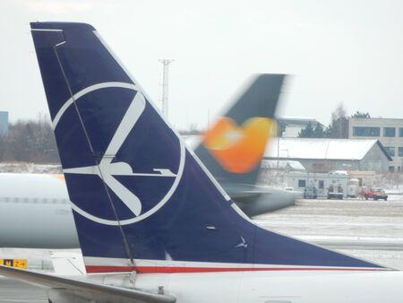kastrup: airplanes tails at Copenhagen Airport, Kastrup, Denmark Editorial