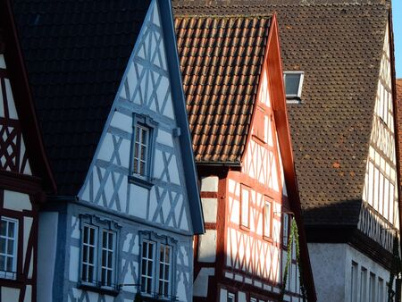 timbered: Half timbered houses in Ochsenfurt historical town, Franconia, Bavaria, Germany