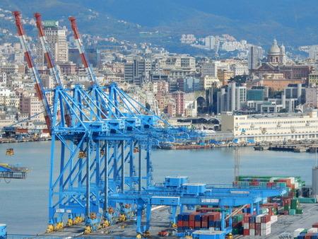 literas: harbor cranes in Genoa, Liguria, Italy