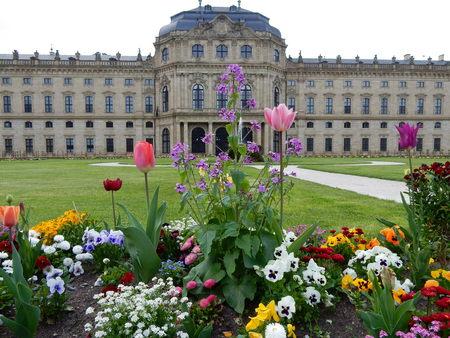 residence: Wuerzburg Residence garden, Franconia, Bavaria, Germany Editorial