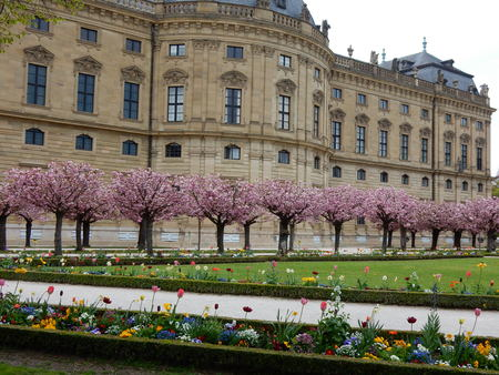 residences: the residences garden in spring, Wurzburg, Franconia, Bavaria, Germany Editorial