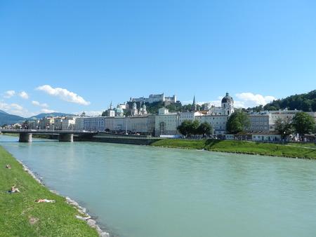 salzach: Salzburg old town and the river Salzach, Austria