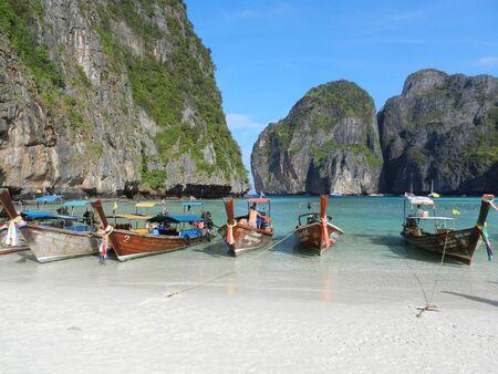 long tail: long tail boats at Maya bay, Phi Phi Leh island, Thailand