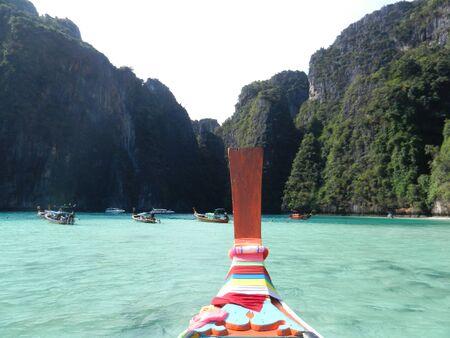 long tail: long tail boats at Pileh bay, Phi Phi Leh island, Thailand Stock Photo