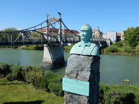 technical department: the historic bridge on the Salzach river, between Laufen, Bavaria and Oberndorf bei Salzburg, Austria Stock Photo