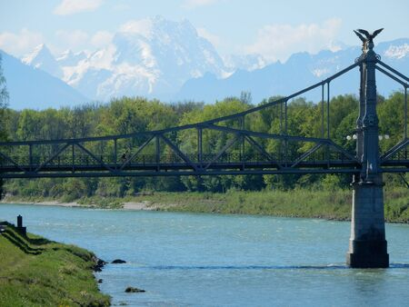 salzach: the historic bridge on the Salzach river, between Laufen, Bavaria and Oberndorf bei Salzburg, Austria Stock Photo