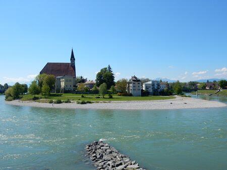 salzach: Laufen and the River Salzach bend seen from Oberndorf bei Salzburg, Austria