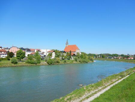 salzach: Laufen, Bavaria, Germany and the River Salzach seen from Oberndorf bei Salzburg, Austria