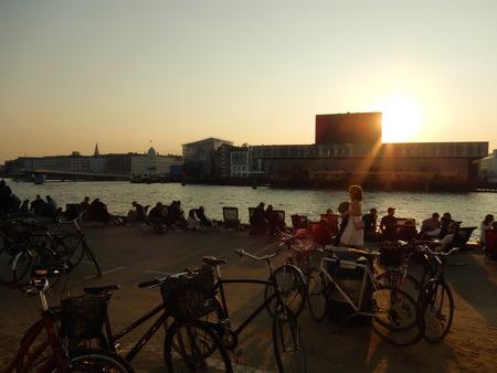 playhouse: royal danish playhouse at sunset and the harbor, Copenhagen, Denmark Editorial