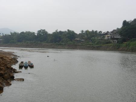khan: the Nam Khan River, Luang Prabang, Laos Stock Photo