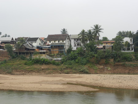 nam: the Nam Khan River, Luang Prabang, Laos Stock Photo