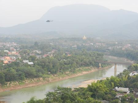 khan: Nam Khan river from Mount Phou Si, Luang Prabang, Laos Stock Photo