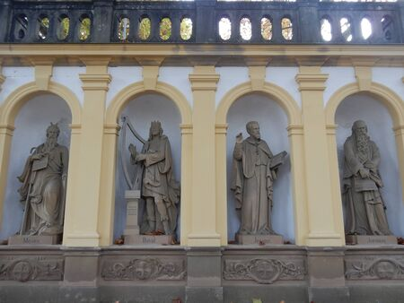 niches: Prophets statues on the pilgrimage way to  ppele church, Wurzburg, Franconia, Bavaria, Germany