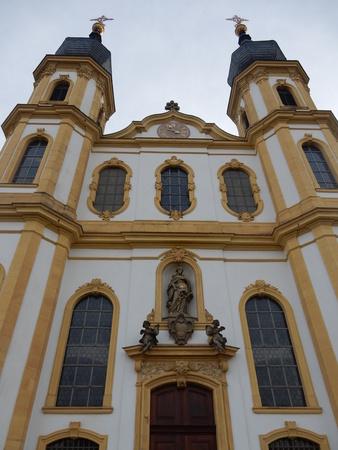 church in autumn, Wurzburg, Franconia, Bavaria, Germany Stock Photo