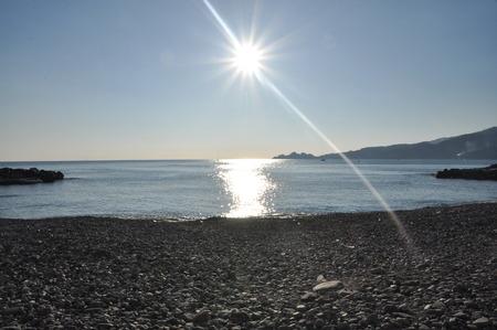 Zoagli beach with Portofino in the background, Tigullio gulf, LIguria, Italy