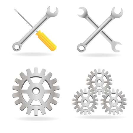 Conjunto de icono de herramientas Ilustración de vector