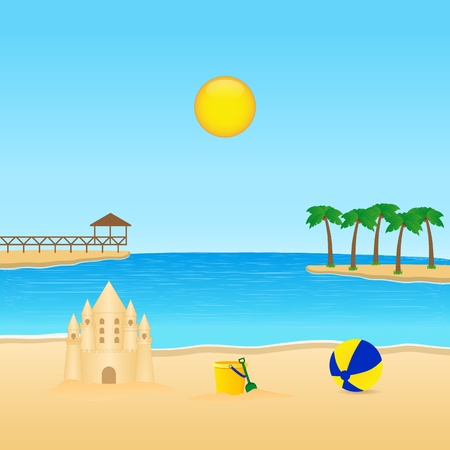 beach bucket: Tropical landscape with sandcastle