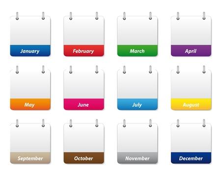 kalender oktober: Kalender pictogrammen instellen Stock Illustratie
